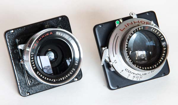 Linhof lenses, 65 and 180mm, mounted in Graflex 23 lensboard