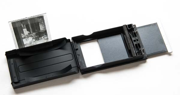 Graflex film pack adapter converted to glass plate holder