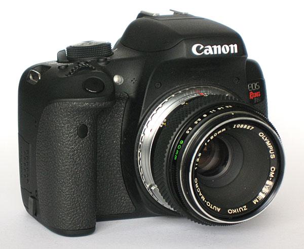 Olympus Zuiko Macro 50 mm f/3.5 mounted in Canon Rebel