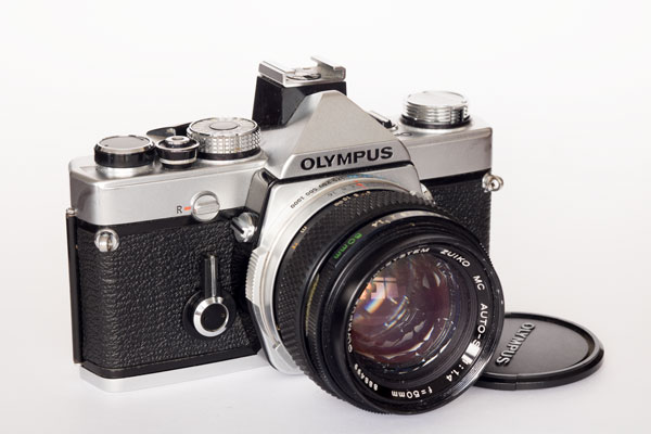 Olympus OM1n with 50 mm f/1.4 and hot shoe