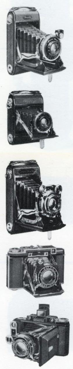 De cima para baixo: Ikontas 6x9 e 6x4,5. Super Ikontas C, B e A - fonte: Zeiss Cameras, 1926-39 - D.B. Tubbs