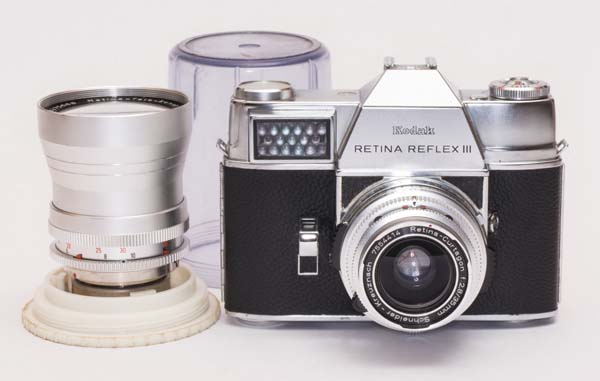 Kodak Retina Reflex III -  Retina Curtagon 35mm f/3.5 and Retina Tele Xenar 135 mm f/4.0