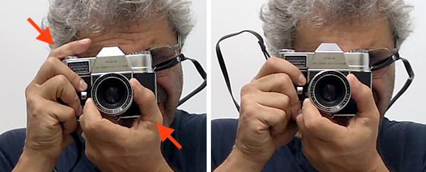 Kodak Retina Reflex III - holding the camera